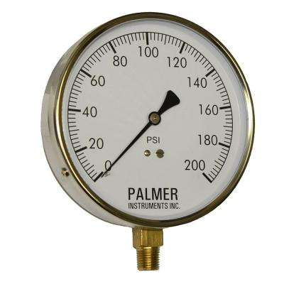 4.5 in. Dial 200 psi Stainless Steel Case Contractor Gauge