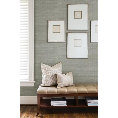 Barbora Aqua Grasscloth Wallpaper