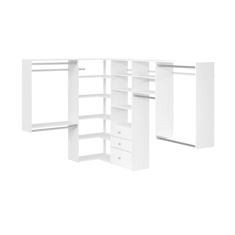 66 In. D X 115 In. W X 72 In. H Classic White Wood Corner Closet Kit by Closet Evolution