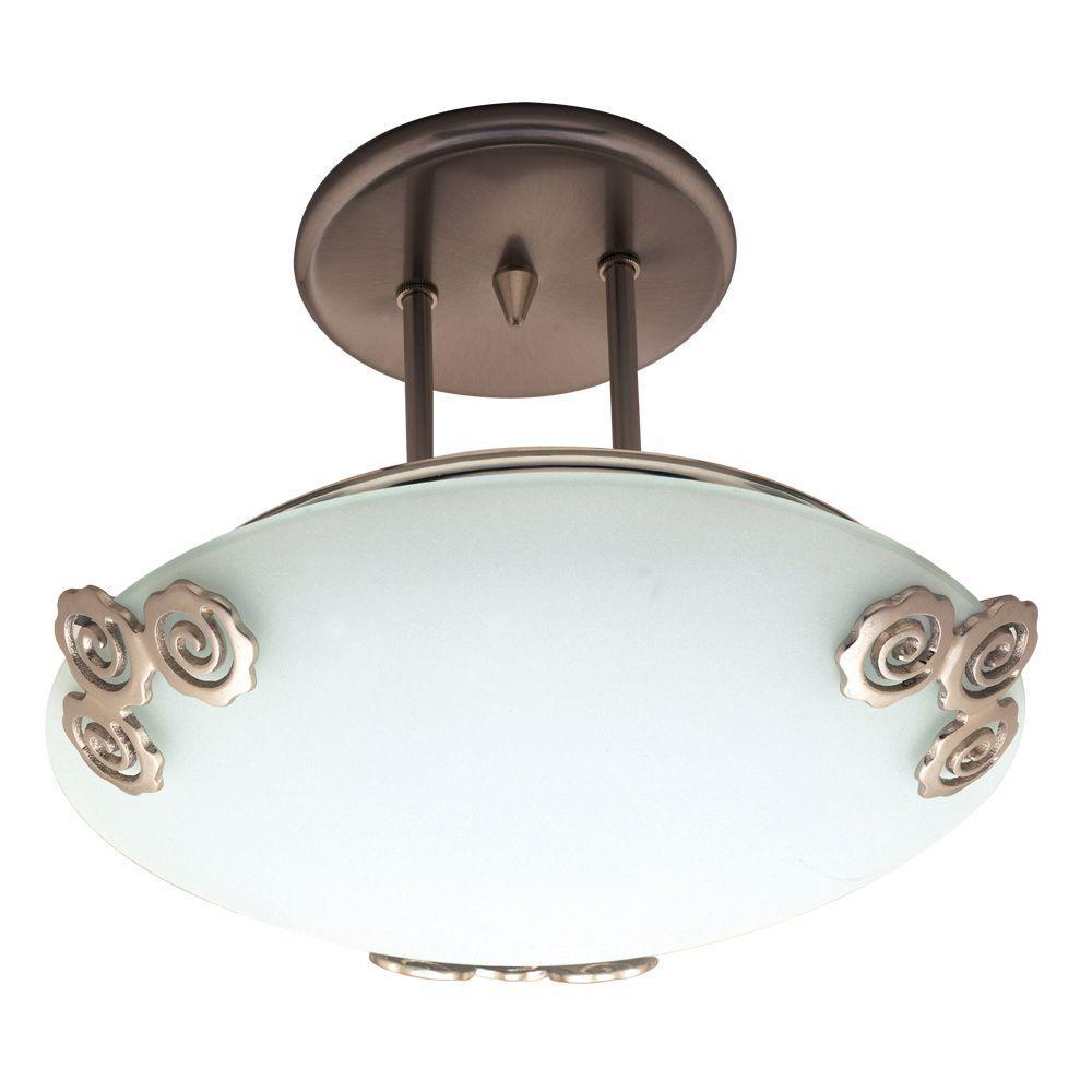 1-Light Semi-Flush Mount Ceiling-Light Copper Finish Acid Frost Glass