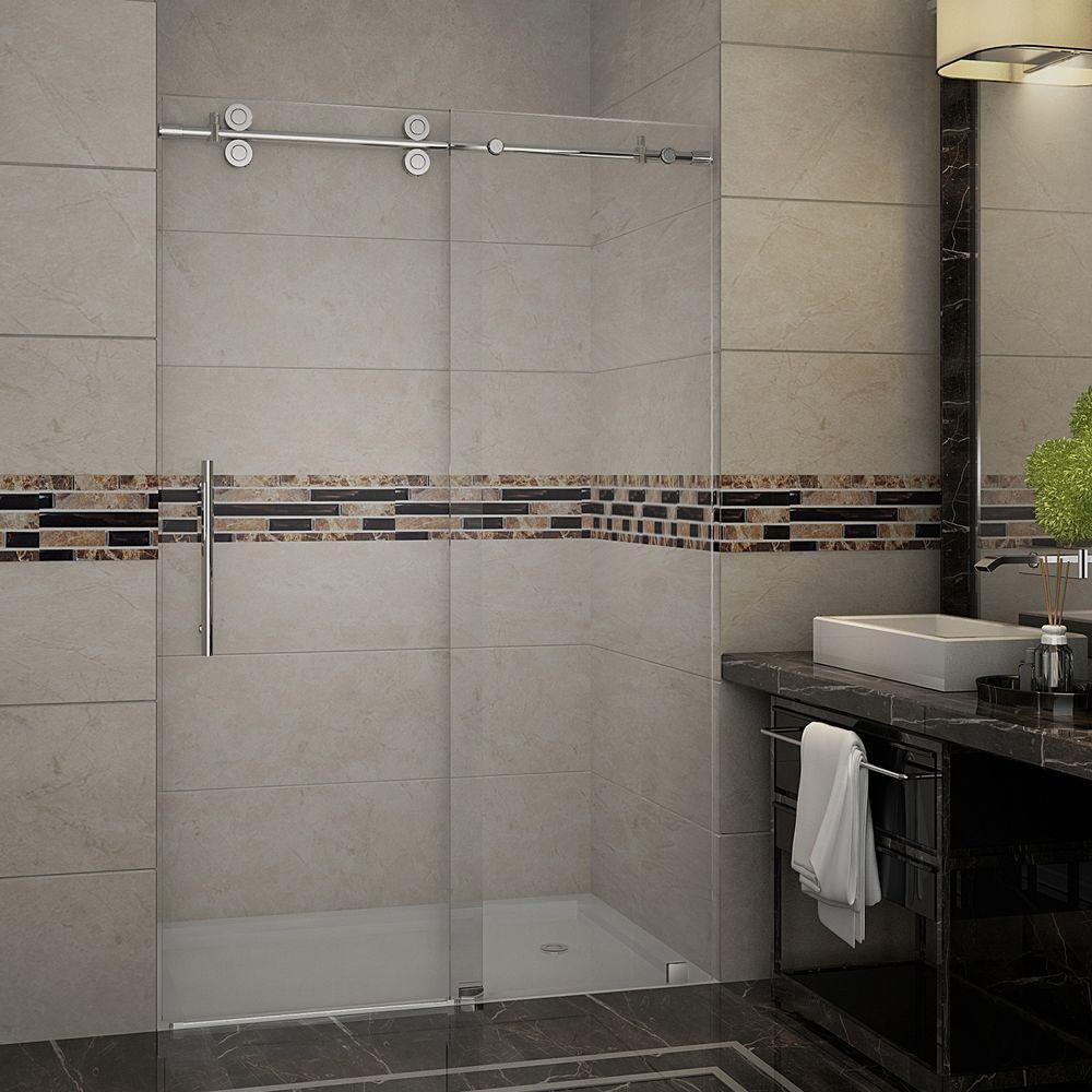 Langham 48 in. x 75 in. Completely Frameless Sliding Shower Door in Chrome with Clear Glass