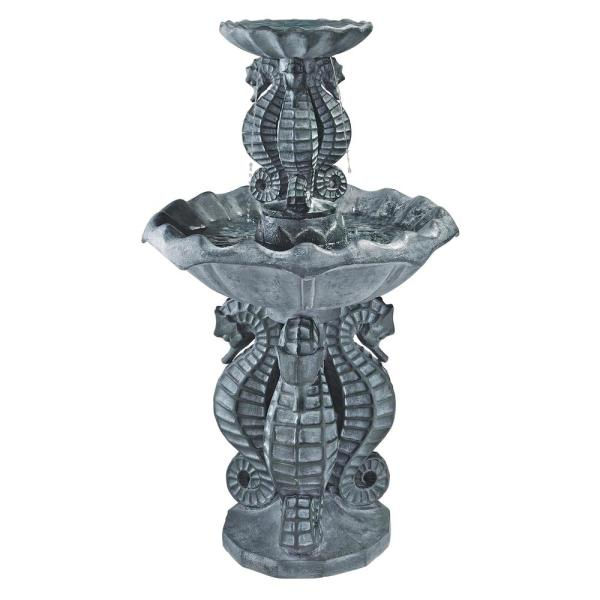 Spirit of the Ocean Seahorse Stone Bonded Resin 2 Tier Fountain