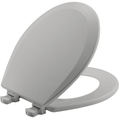 Lift-Off Round Closed Front Toilet Seat in Silver