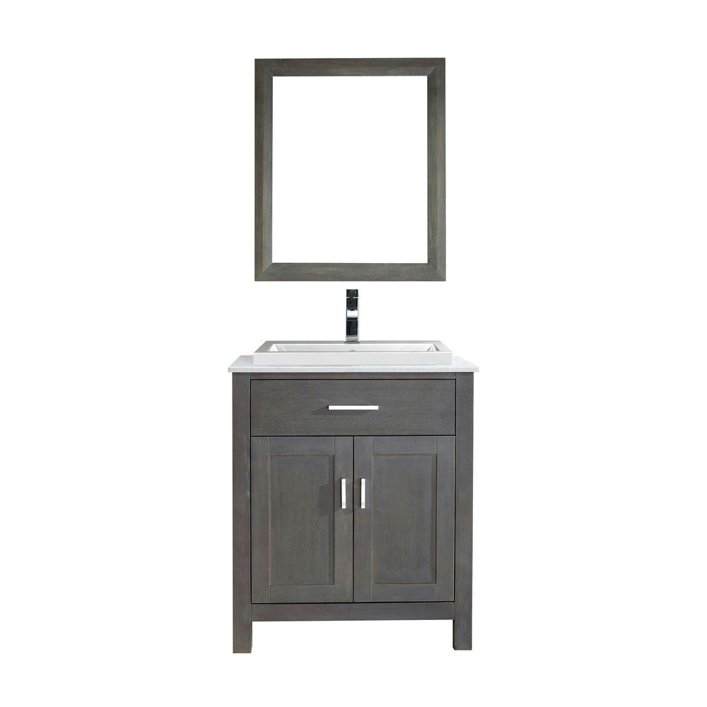 Studio Bathe Kelly 30 in. Vanity in French Gray with Solid Surface Marble Vanity Top in Carrara White and Mirror