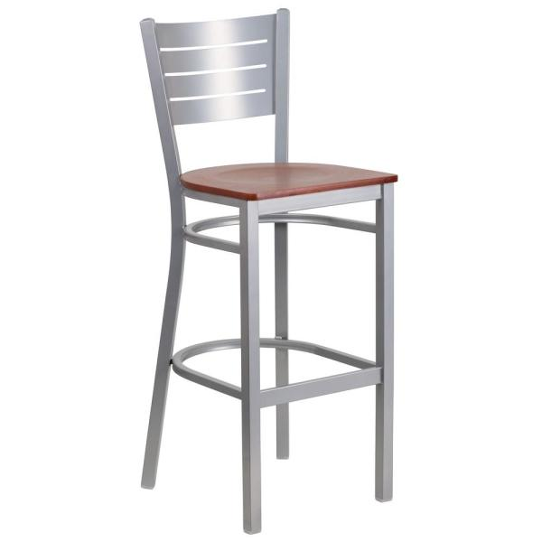 Flash Furniture 30 in. Cherry and Silver Bar Stool XUDG60402BCYW