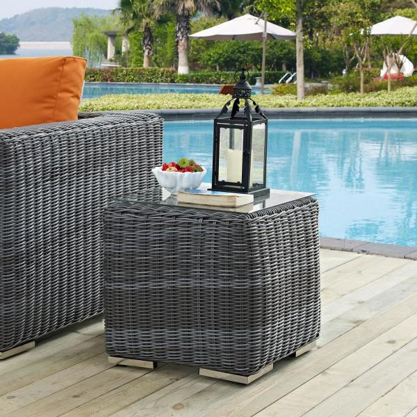Summon Patio Glass Top Outdoor Side Table in Gray