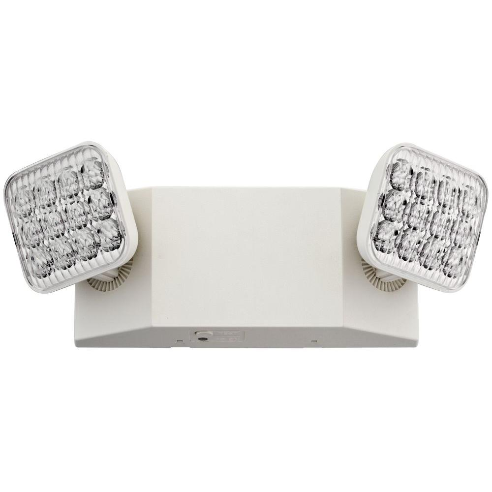 Lithonia Lighting 2 Light 12 In Wall Mount White Led Emergency Fixture Unit