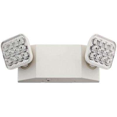 2-Light 12 in. Wall-Mount White LED Emergency Fixture Unit with Adjustable Optics