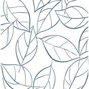 Navy Blue Tossed Leaves Peel and Stick Wallpaper 30.75 sq. ft.