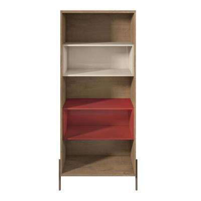 Joy Red and Off White 5-Shelf Bookcase