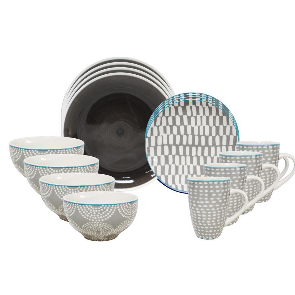 Simpatico 16-Piece Grey Dinnerware Set by