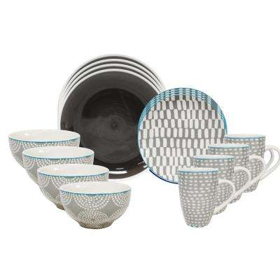 Simpatico 16-Piece Grey Dinnerware Set