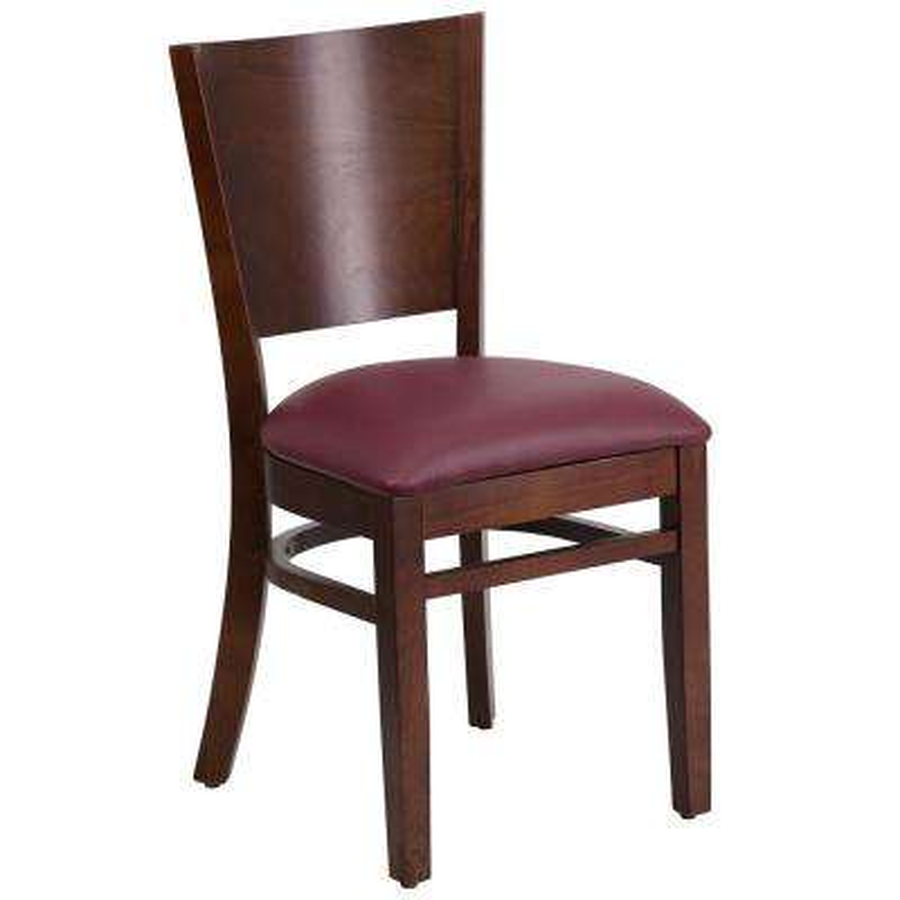 Lacey Series Walnut Solid Back Wooden Restaurant Chair   Burgundy Vinyl Seat