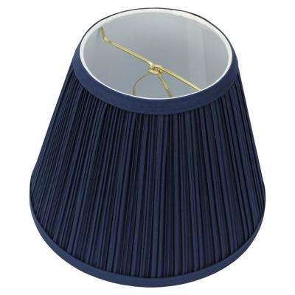 5 in. Top Diameter x 9 in. Bottom Diameter x 7 in. Slant Pleated Mushroom Navy Blue Empire Lamp Shade