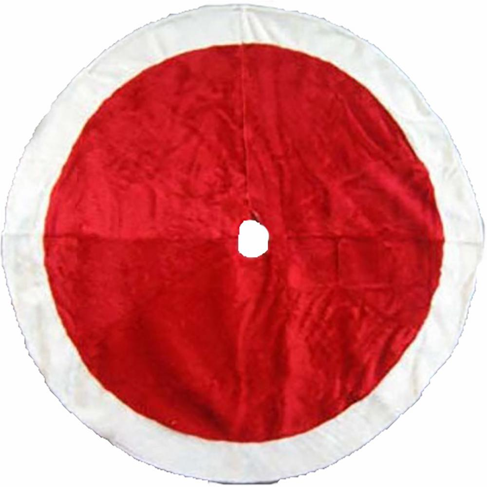 48 in. Plush Tree Skirt in Red with White Trim
