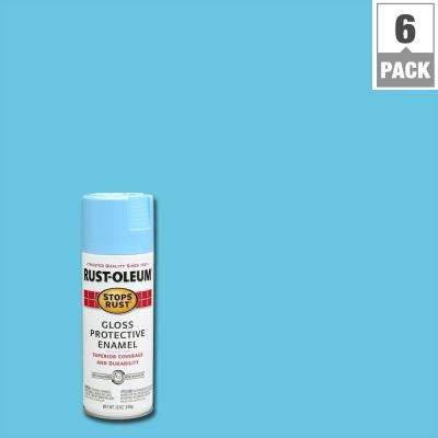 12 oz. Protective Enamel Gloss Harbor Blue Spray Paint (6-Pack)