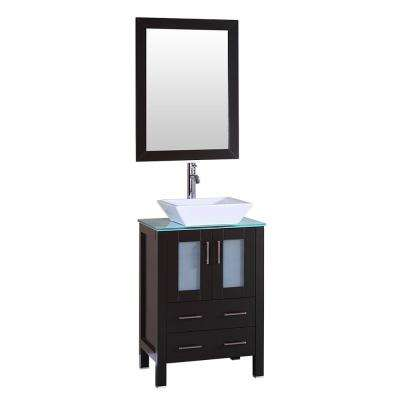 24 in. W Single Bath Vanity with Tempered Glass Vanity Top in Green with White Basin and Mirror