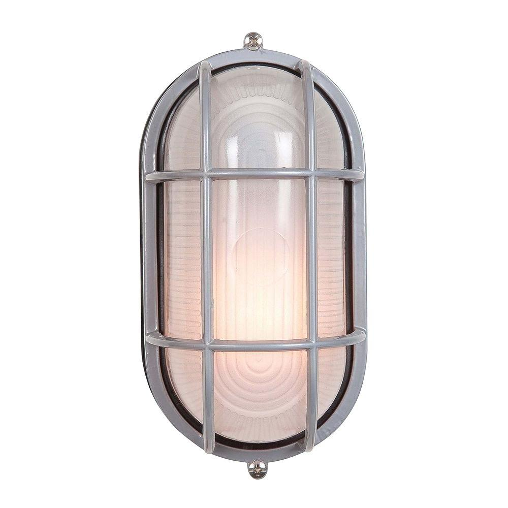Illumine 1-Light Outdoor Satin Wall Sconce with Frosted Glass-DISCONTINUED