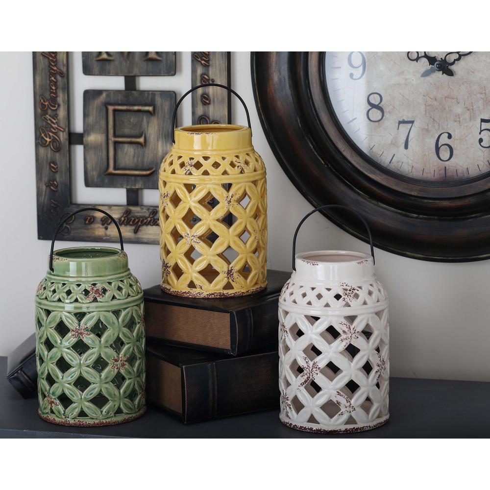 9 in. Rustic Stoneware Lattice-Patterned Candle Lanterns (Set of 3)