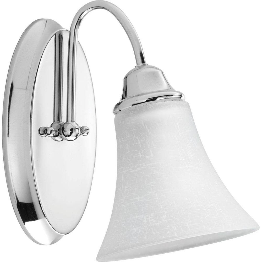 Progress lighting tally collection 1 light polished chrome for Chrome bathroom sconce with shade