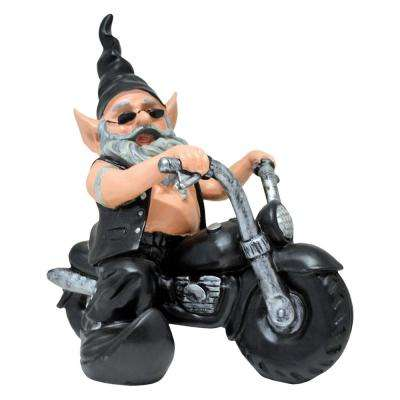 "12 in. H ""Biker Dude"" the Biker Gnome in Leather Motorcycle Gear Riding His Black Bike Home and Garden Gnome Statue"