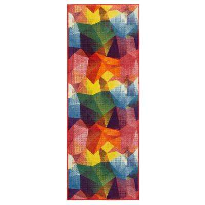 Rainbow Collection Abstract Pattern Design Multi 2 ft. x 6 ft. Runner Rug