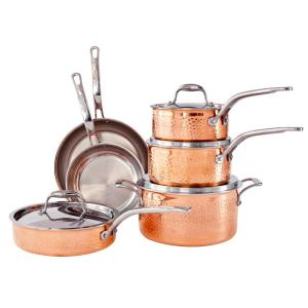 Martellata 10-Piece Hammered Copper Tri-Ply Cookware Set