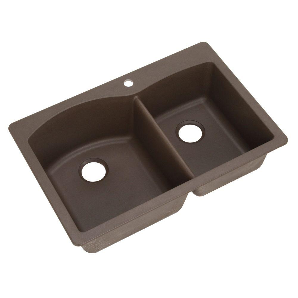 Blanco Diamond Dual Mount Composite 33 in. 1-Hole Double Basin Kitchen Sink in Cafe Brown