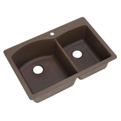 Diamond Dual Mount Granite Composite 33 in. 1-Hole Double Bowl Kitchen Sink in Cafe Brown