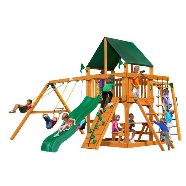 Navigator Wooden Swing Set with Sunbrella Canvas Canopy and Monkey Bars