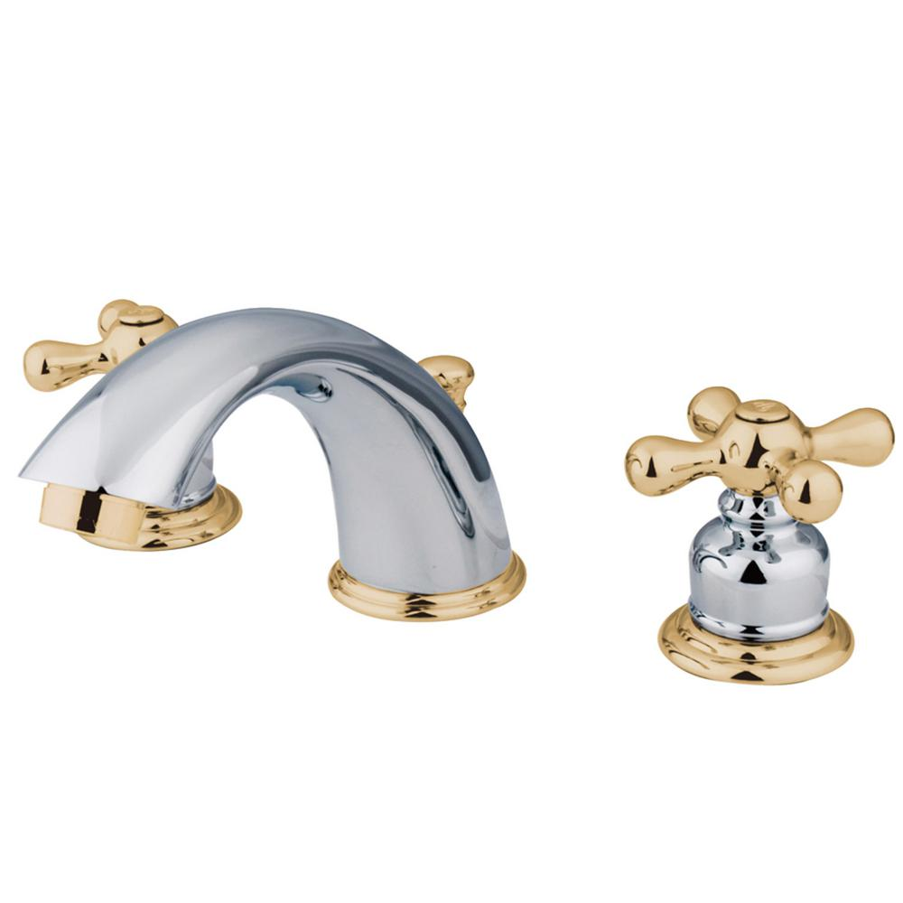 Kingston Brass Victorian 8 in. Widespread 2-Handle Bathroom Faucet in Chrome and Polished Brass