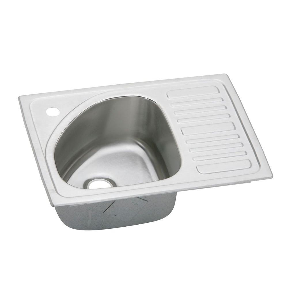 Elkay Gourmet Drop-In Stainless Steel 21x15x6-1/2 1-Hole Single Bowl Bar Sink with Drainboard-DISCONTINUED