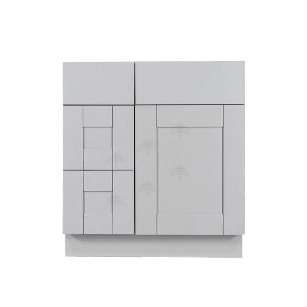 LIFEART CABINETRY Anchester Assembled 30 in. x 21 in. x 33 in. Bath Vanity Sink Base Cabinet with 1-Door 2-Left Drawers in Light Gray