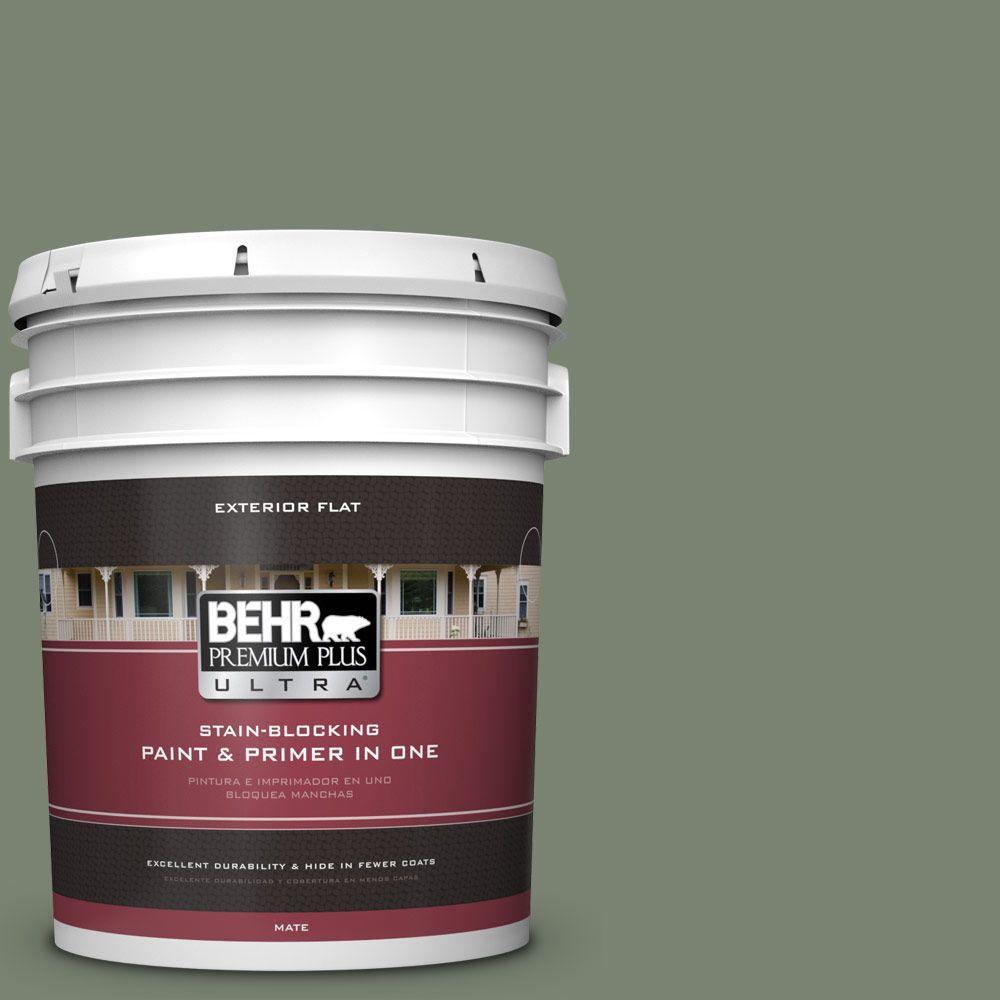 BEHR Premium Plus Ultra 5-gal. #ICC-77 Sage Green Flat Exterior Paint
