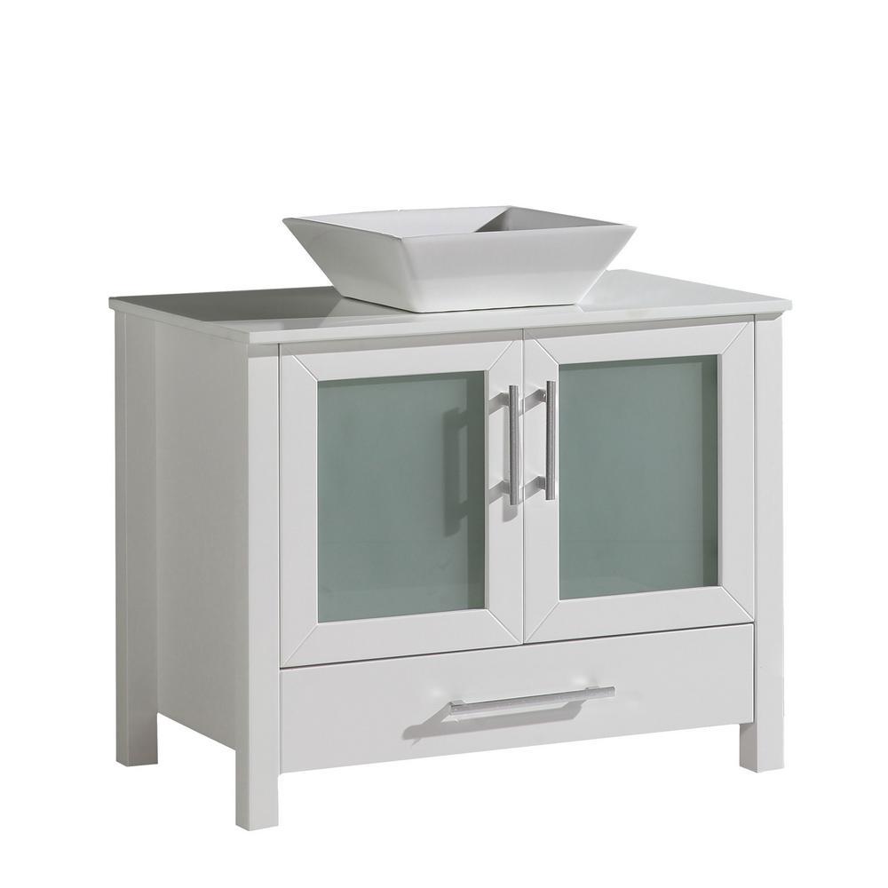 Dijon 35.8 in. W x 18.5 in. D x 35.8 in. H Bath Vanity in White with Quartz Vanity Top in White with White Basin