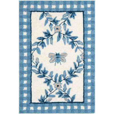 Chelsea Ivory/Blue 1 ft. 8 in. x 2 ft. 6 in. Area Rug