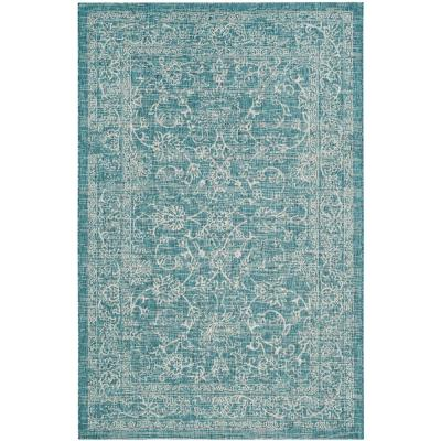 Courtyard Turquoise 7 ft. x 10 ft. Indoor/Outdoor Area Rug