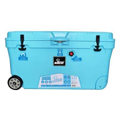 110 qt. Light Blue Wheeled Cooler