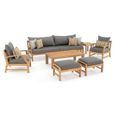 Kooper 8-Piece Wood Patio Conversation Set with Sunbrella Charcoal Grey Cushions