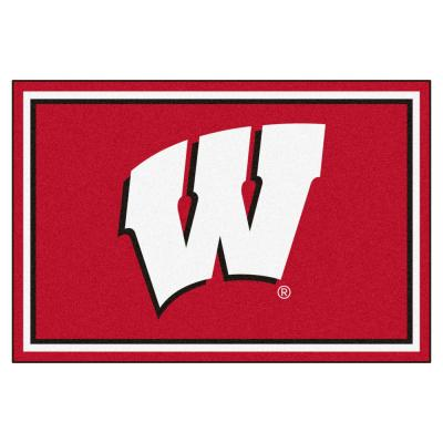 NCAA - University of Wisconsin Red 8 ft. x 5 ft. Indoor Rectangle Area Rug