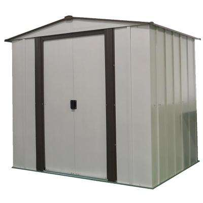 6 ft. W X 5 ft. D x 5.5 ft. H Newburgh Galvanized Steel Storage Shed in Coffee/Eggshell with UV-Resistant Panels