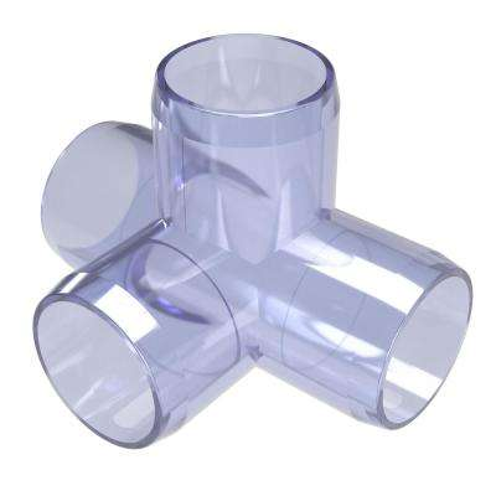 3/4 in. Furniture Grade PVC 4-Way Tee in Clear