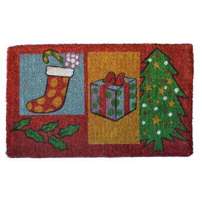 Traditional Coir Mat, Christmas Gifts, 30 in. x 18 in. Natural Coconut Husk Doormat