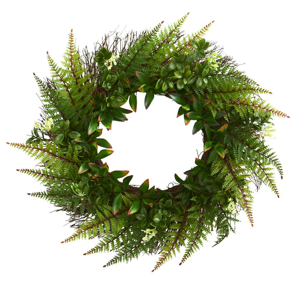 Nearly Natural Indoor Outdoor 23 In Assorted Fern Wreath Uv Resistant