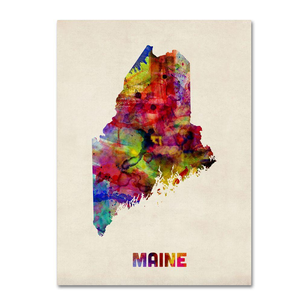 trademark fine art 47 in x 35 in maine map canvas art mt0327 c3547gg the home depot. Black Bedroom Furniture Sets. Home Design Ideas