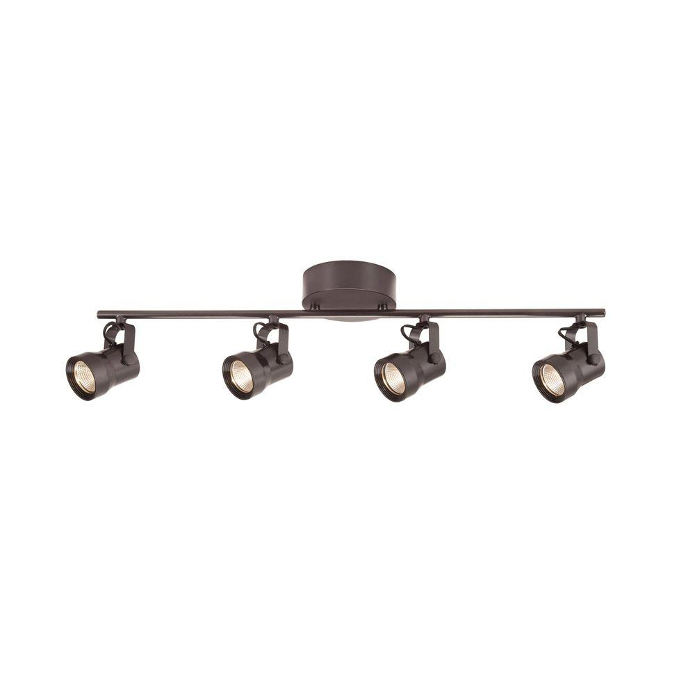 Hampton Bay 4 Light Bronze Led Dimmable Fixed Track Lighting Kit With Straight Bar Metal Shade
