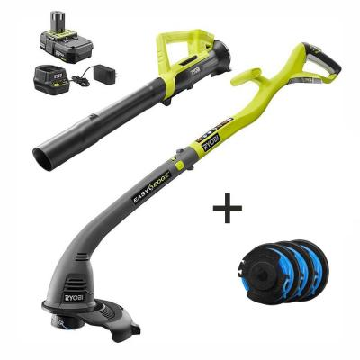 ONE+ 18-Volt Lithium-Ion String Trimmer/Edger & Blower Kit w/ Extra 3-Pack of Spools-2.0 Ah Battery and Charger Included