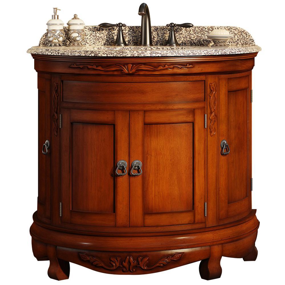 Ove Decors Victoria 36 In W X 21 In D Vanity In Cherry With Granite Vanity Top In Beige With