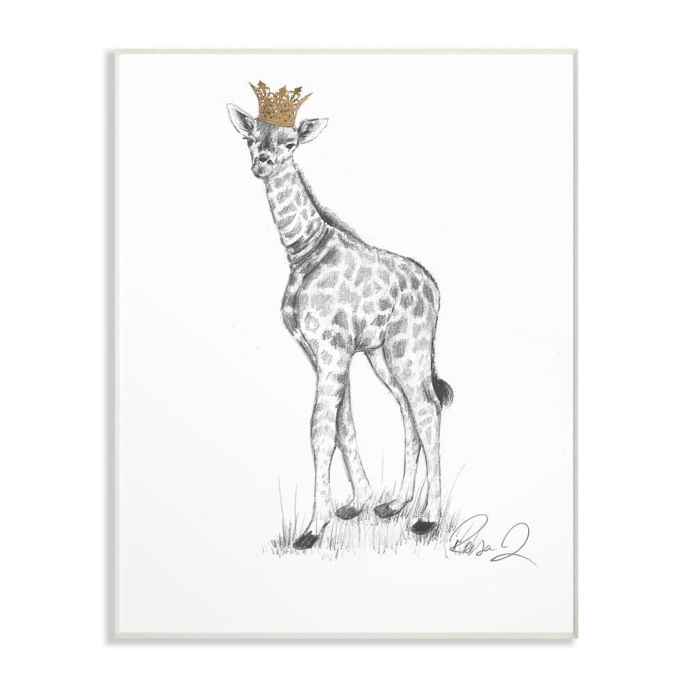 "10 in. x 15 in. ""Giraffe Royalty Graphite Drawing"" by Reesa Qualia Printed Wood Wall Art"