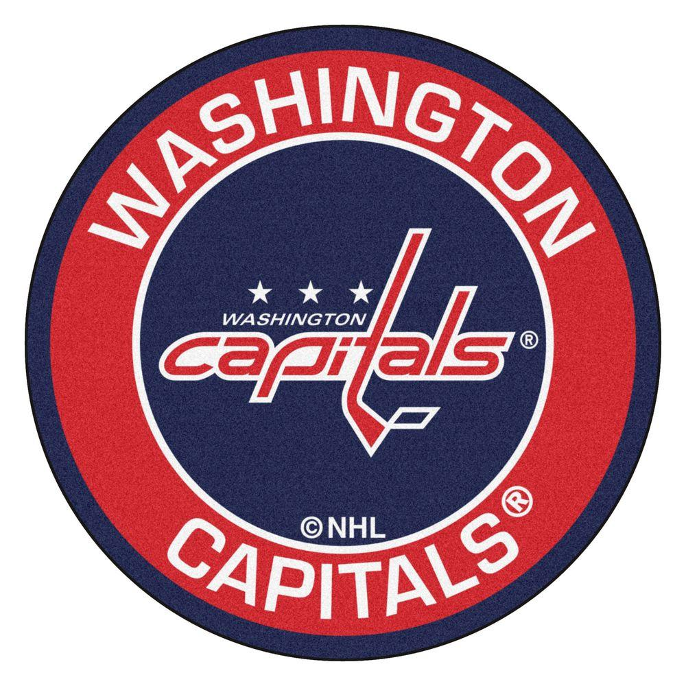 NHL Washington Capitals Red 2 ft. 3 in. x 2 ft. 3 in. Round Accent Rug